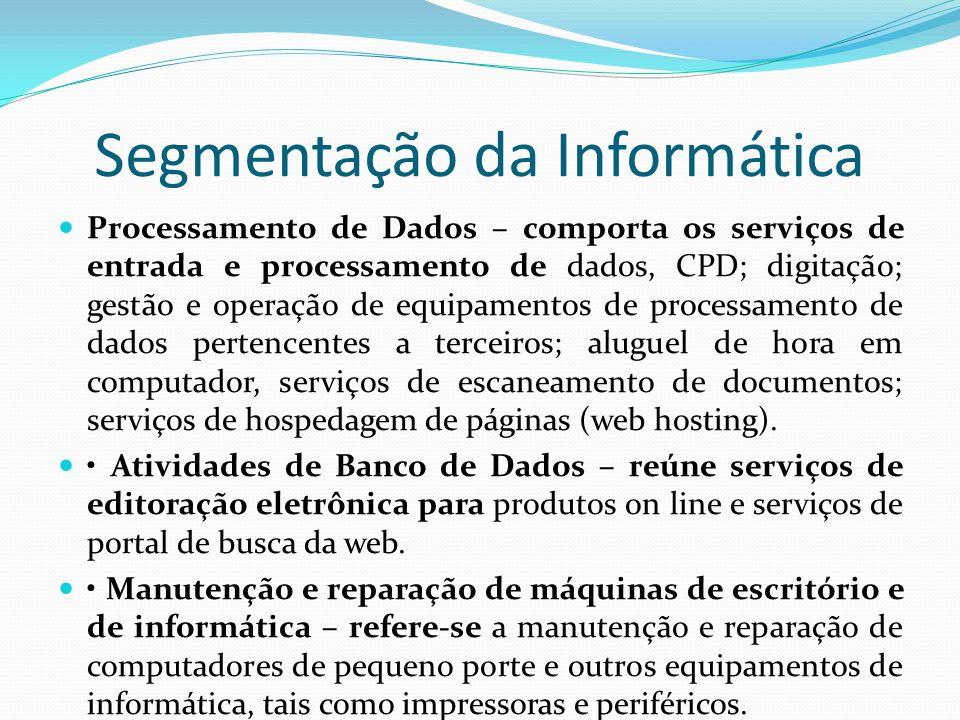 Segmentação da Informática  Processamento de Dados – comporta os serviços de entrada e processamento de dados, CPD; digitação; gestão e operação de e