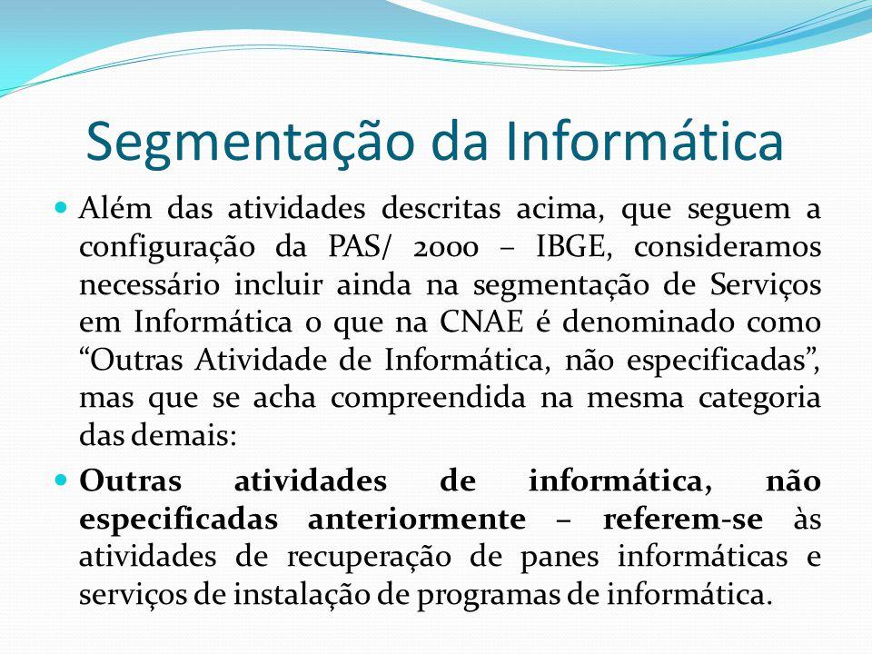 Segmentação da Informática  Além das atividades descritas acima, que seguem a configuração da PAS/ 2000 – IBGE, consideramos necessário incluir ainda