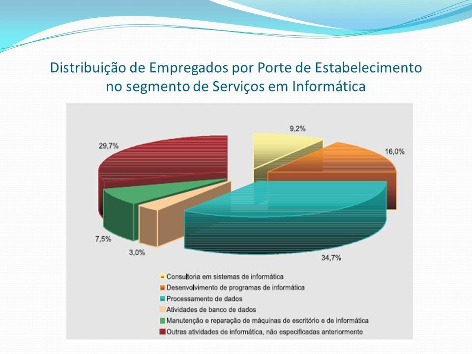 Distribuição de Empregados por Porte de Estabelecimento no segmento de Serviços em Informática