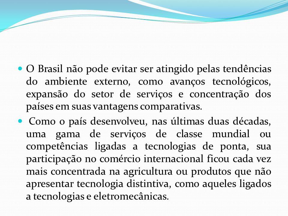  O Brasil não pode evitar ser atingido pelas tendências do ambiente externo, como avanços tecnológicos, expansão do setor de serviços e concentração
