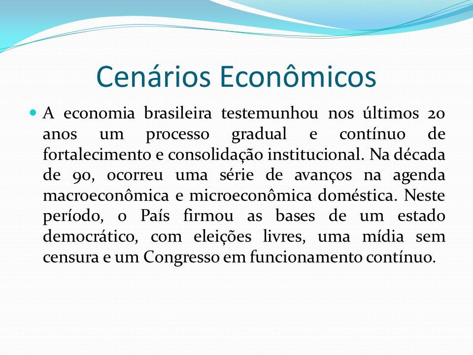 Cenários Econômicos  A economia brasileira testemunhou nos últimos 20 anos um processo gradual e contínuo de fortalecimento e consolidação institucio