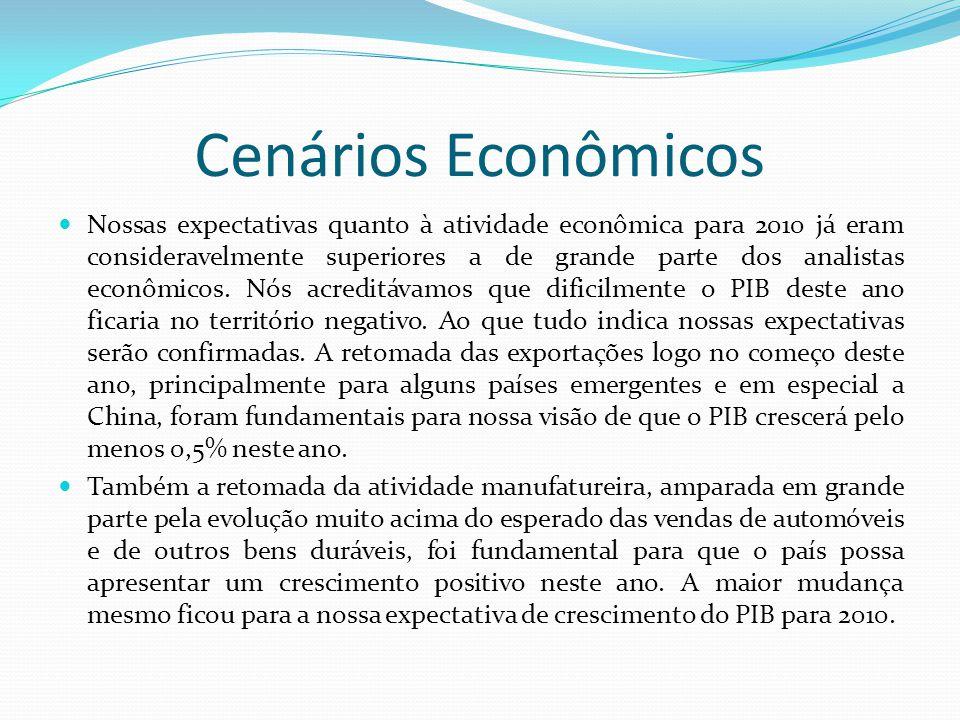 Cenários Econômicos  Nossas expectativas quanto à atividade econômica para 2010 já eram consideravelmente superiores a de grande parte dos analistas