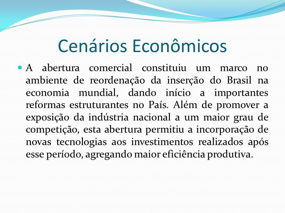 Cenários Econômicos  A abertura comercial constituiu um marco no ambiente de reordenação da inserção do Brasil na economia mundial, dando início a im