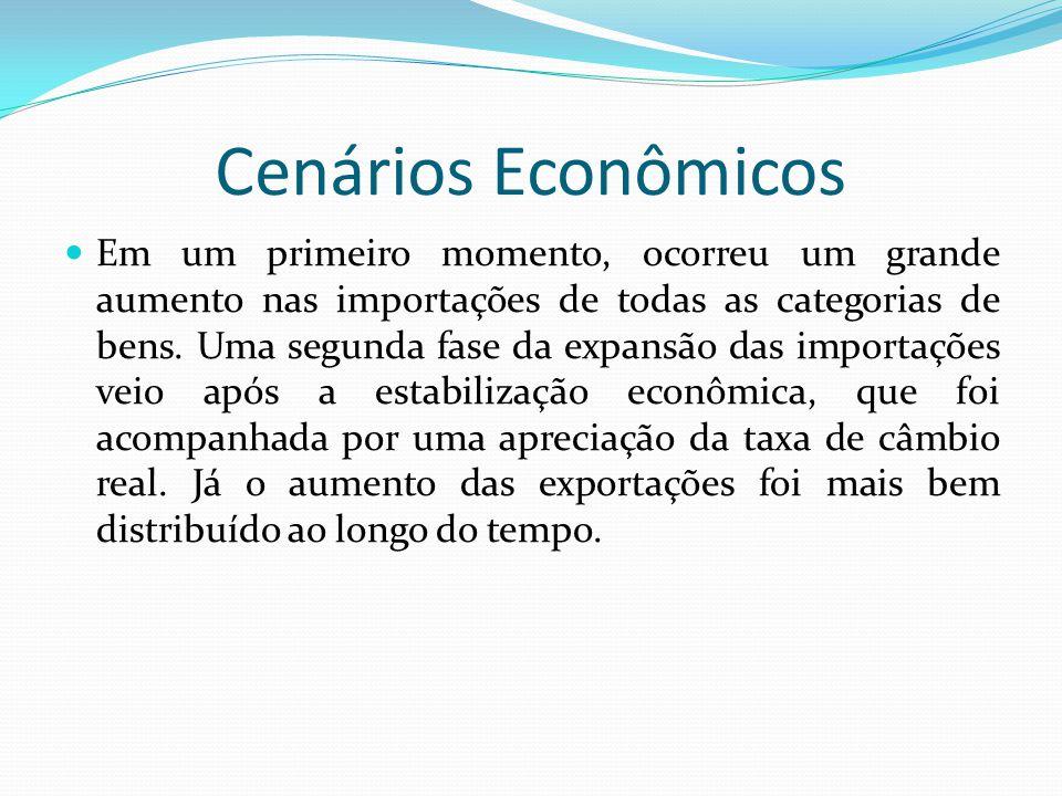 Cenários Econômicos  Em um primeiro momento, ocorreu um grande aumento nas importações de todas as categorias de bens. Uma segunda fase da expansão d