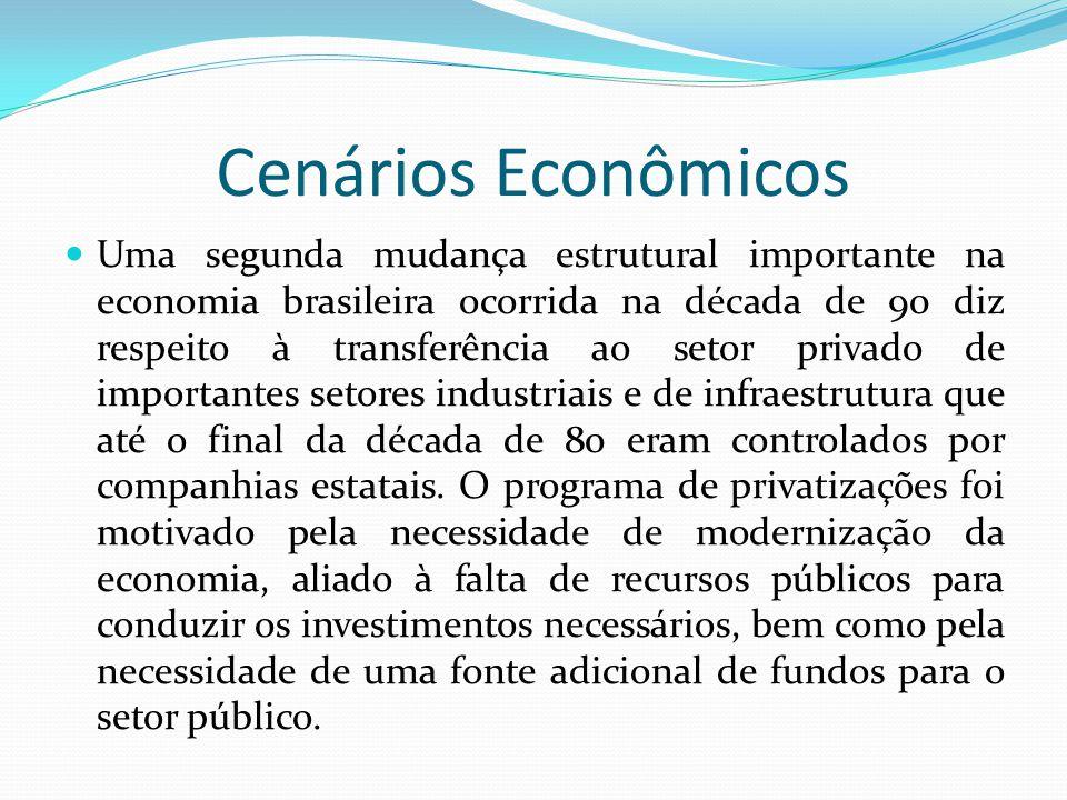Cenários Econômicos  Uma segunda mudança estrutural importante na economia brasileira ocorrida na década de 90 diz respeito à transferência ao setor