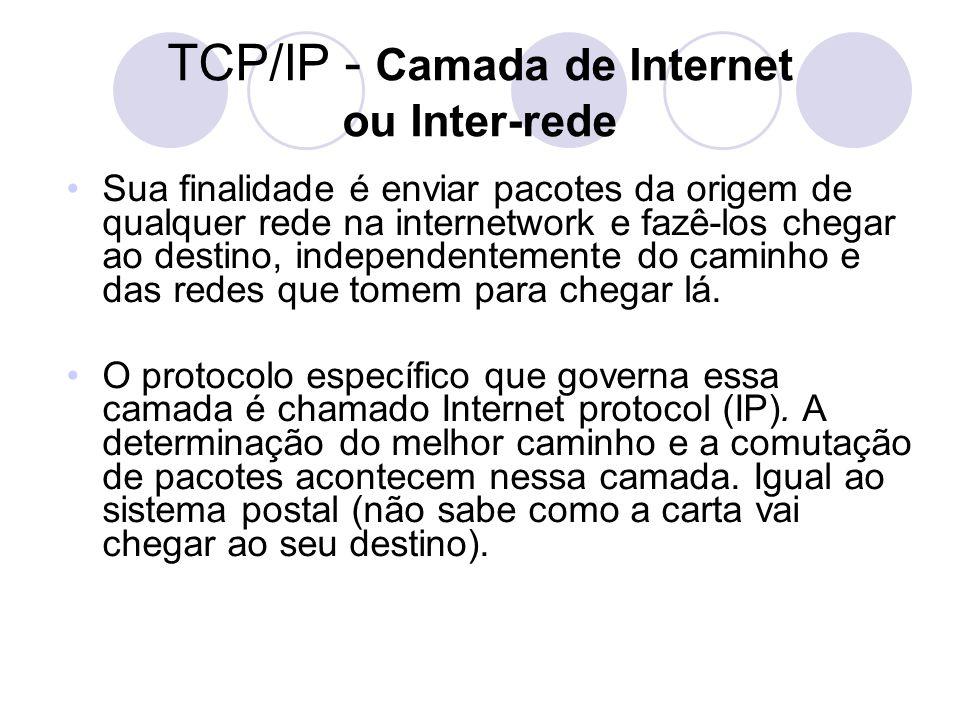 TCP/IP - Camada de Internet ou Inter-rede •Sua finalidade é enviar pacotes da origem de qualquer rede na internetwork e fazê-los chegar ao destino, independentemente do caminho e das redes que tomem para chegar lá.