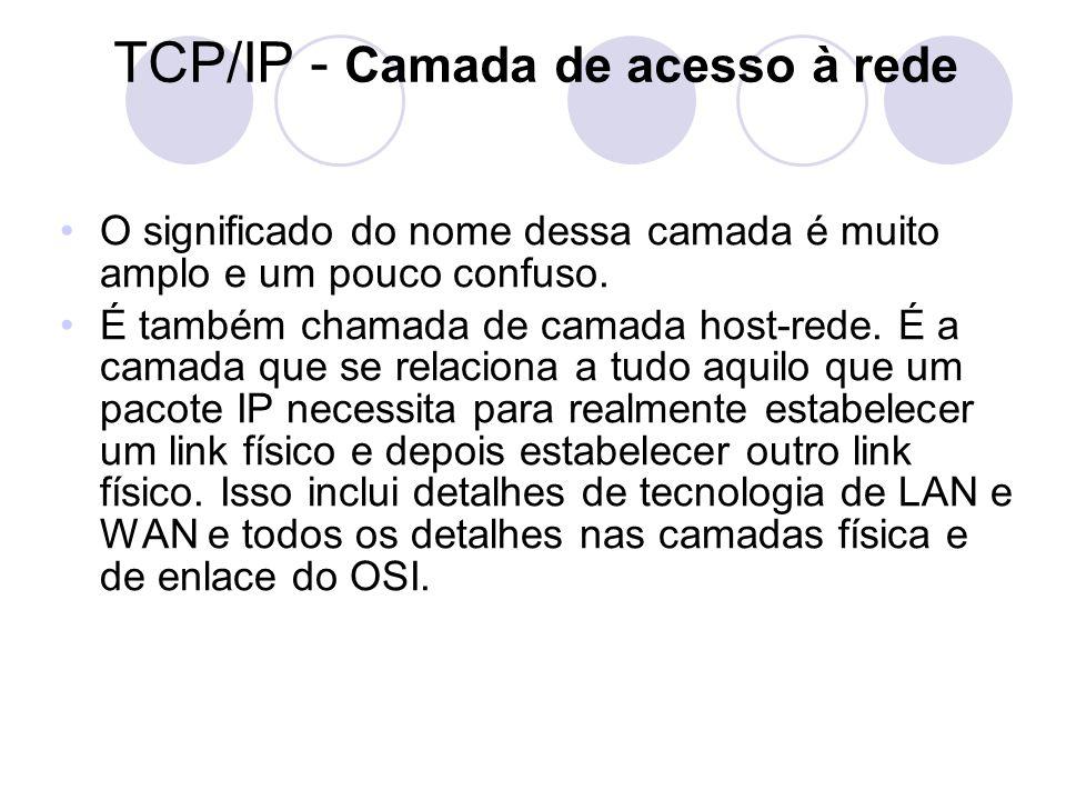 TCP/IP - Camada de acesso à rede •O significado do nome dessa camada é muito amplo e um pouco confuso. •É também chamada de camada host-rede. É a cama