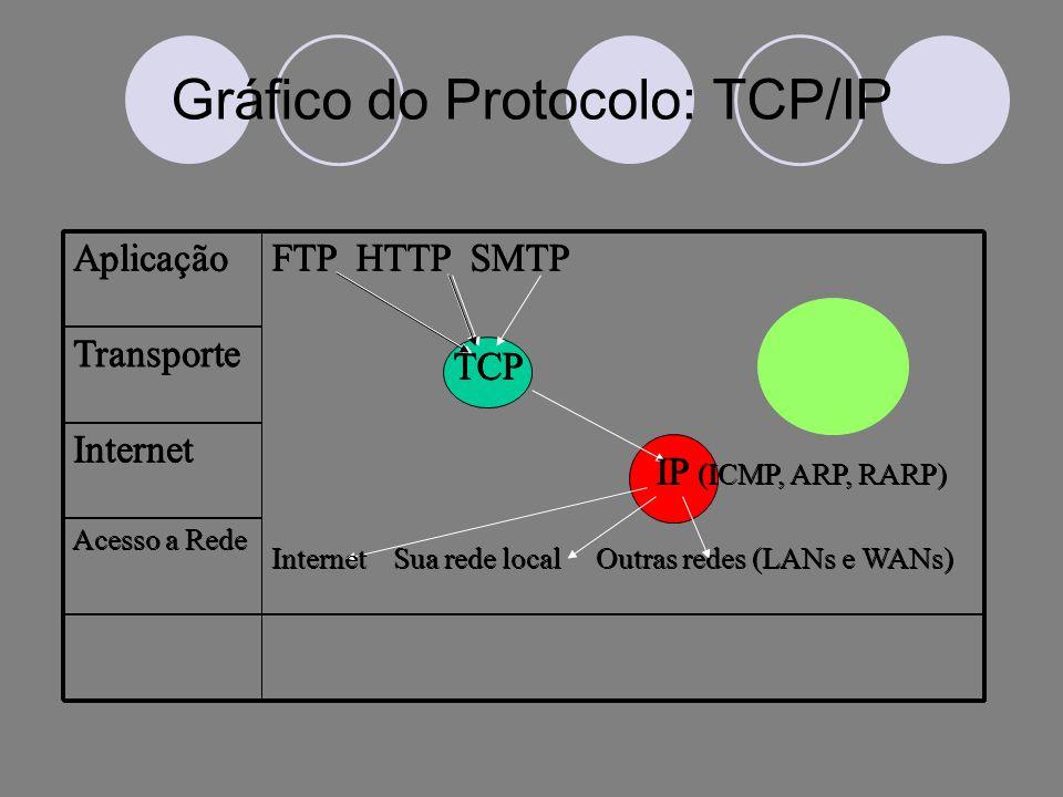 Gráfico do Protocolo: TCP/IP Acesso a Rede Internet Transporte FTP HTTP SMTP TCP IP (ICMP, ARP, RARP) Internet Sua rede local Outras redes (LANs e WANs) Aplicação Acesso a Rede Internet Transporte FTP HTTP SMTP TCP IP (ICMP, ARP, RARP) Internet Sua rede local Outras redes (LANs e WANs) Aplicação Acesso a Rede Internet Transporte FTP HTTP SMTP TCP IP (ICMP, ARP, RARP) Internet Sua rede local Outras redes (LANs e WANs) Aplicação