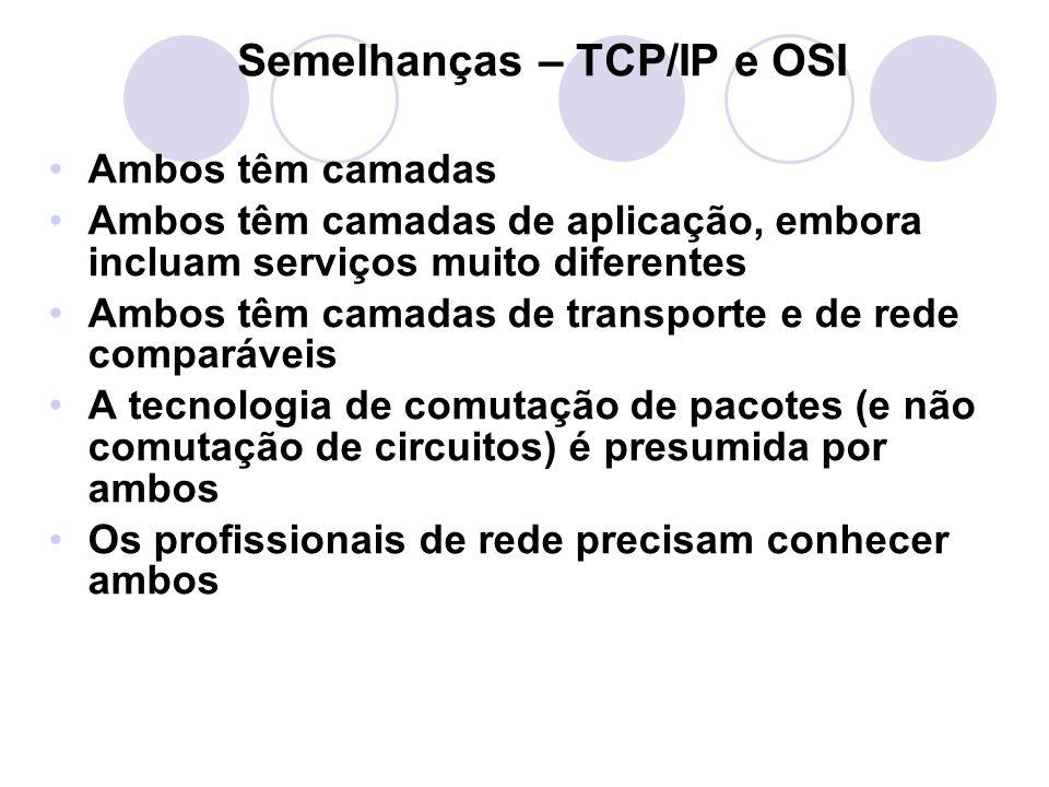 Semelhanças – TCP/IP e OSI •Ambos têm camadas •Ambos têm camadas de aplicação, embora incluam serviços muito diferentes •Ambos têm camadas de transporte e de rede comparáveis •A tecnologia de comutação de pacotes (e não comutação de circuitos) é presumida por ambos •Os profissionais de rede precisam conhecer ambos