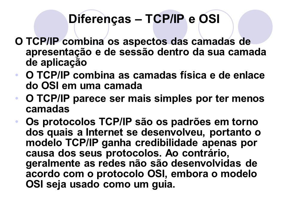 Diferenças – TCP/IP e OSI O TCP/IP combina os aspectos das camadas de apresentação e de sessão dentro da sua camada de aplicação •O TCP/IP combina as camadas física e de enlace do OSI em uma camada •O TCP/IP parece ser mais simples por ter menos camadas •Os protocolos TCP/IP são os padrões em torno dos quais a Internet se desenvolveu, portanto o modelo TCP/IP ganha credibilidade apenas por causa dos seus protocolos.
