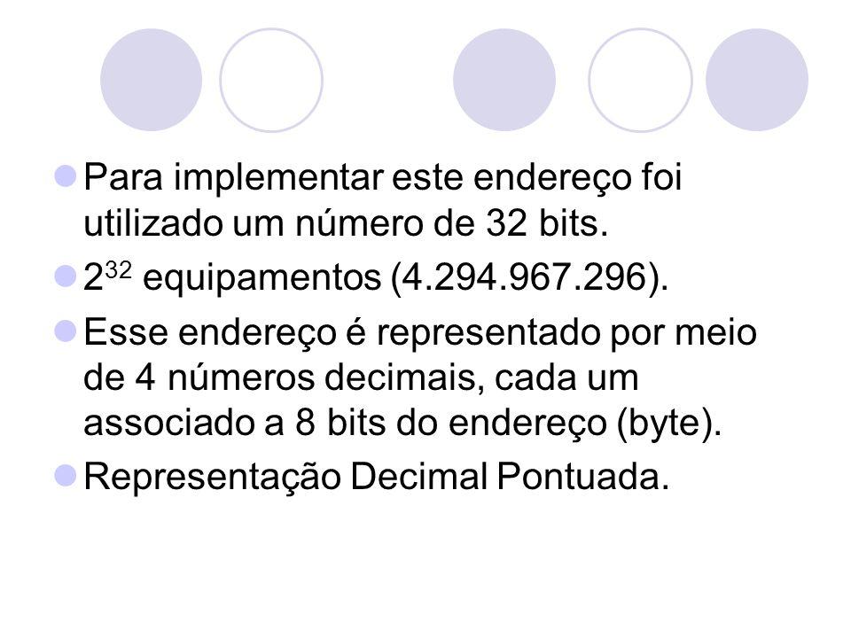  Para implementar este endereço foi utilizado um número de 32 bits.  2 32 equipamentos (4.294.967.296).  Esse endereço é representado por meio de 4