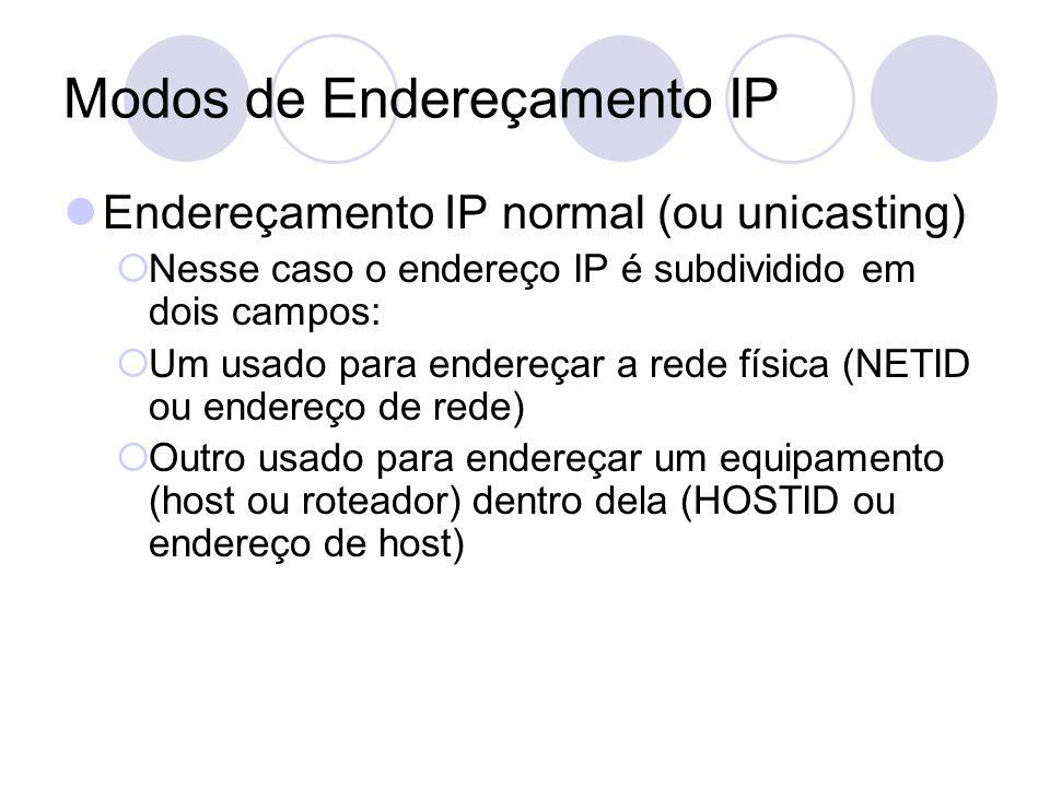 Modos de Endereçamento IP  Endereçamento IP normal (ou unicasting)  Nesse caso o endereço IP é subdividido em dois campos:  Um usado para endereçar a rede física (NETID ou endereço de rede)  Outro usado para endereçar um equipamento (host ou roteador) dentro dela (HOSTID ou endereço de host)