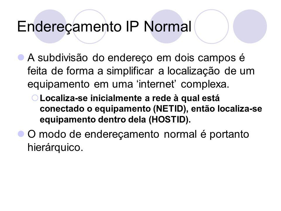 Endereçamento IP Normal  A subdivisão do endereço em dois campos é feita de forma a simplificar a localização de um equipamento em uma 'internet' complexa.