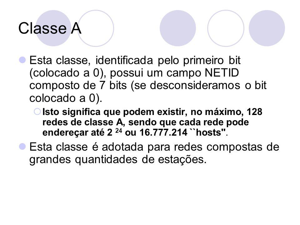 Classe A  Esta classe, identificada pelo primeiro bit (colocado a 0), possui um campo NETID composto de 7 bits (se desconsideramos o bit colocado a 0