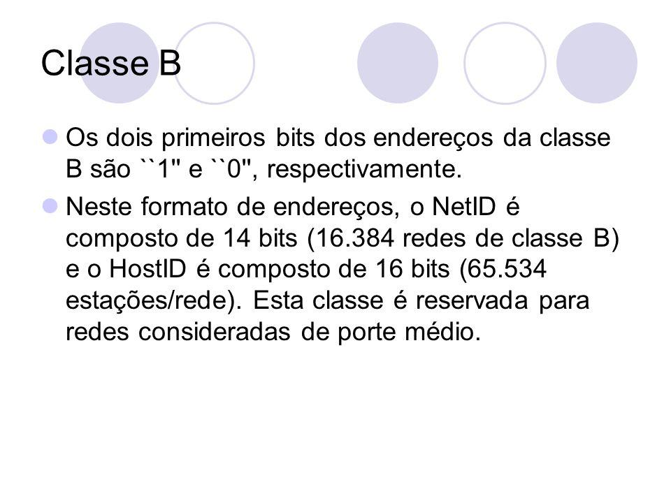 Classe B  Os dois primeiros bits dos endereços da classe B são ``1'' e ``0'', respectivamente.  Neste formato de endereços, o NetID é composto de 14