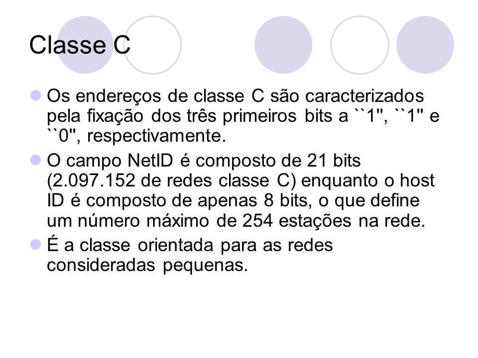 Classe C  Os endereços de classe C são caracterizados pela fixação dos três primeiros bits a ``1'', ``1'' e ``0'', respectivamente.  O campo NetID é