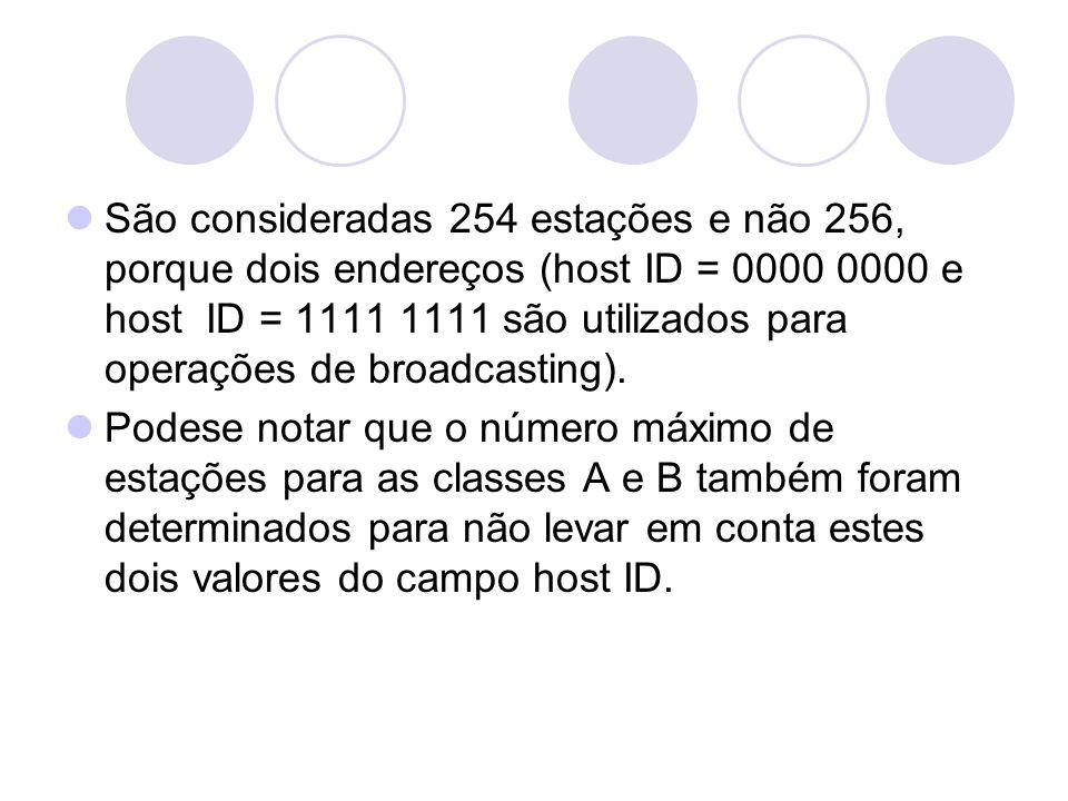  São consideradas 254 estações e não 256, porque dois endereços (host ID = 0000 0000 e host ID = 1111 1111 são utilizados para operações de broadcasting).