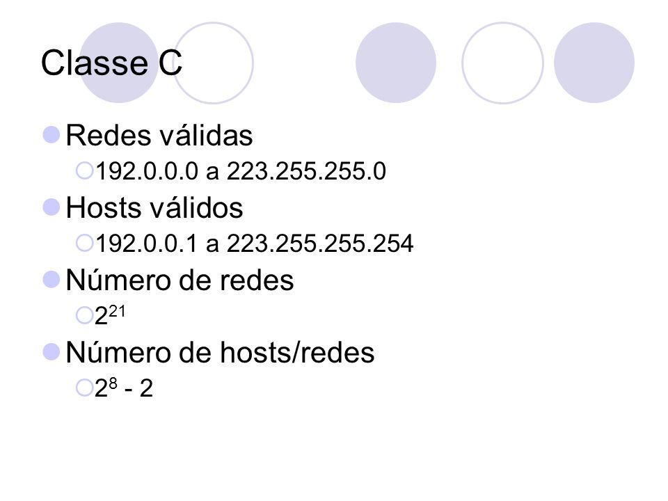 Classe C  Redes válidas  192.0.0.0 a 223.255.255.0  Hosts válidos  192.0.0.1 a 223.255.255.254  Número de redes  2 21  Número de hosts/redes 