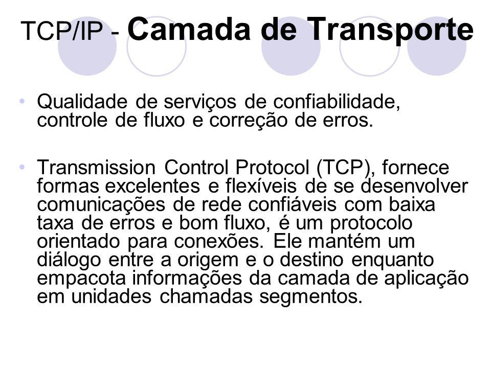 TCP/IP - Camada de Transporte •Qualidade de serviços de confiabilidade, controle de fluxo e correção de erros. •Transmission Control Protocol (TCP), f