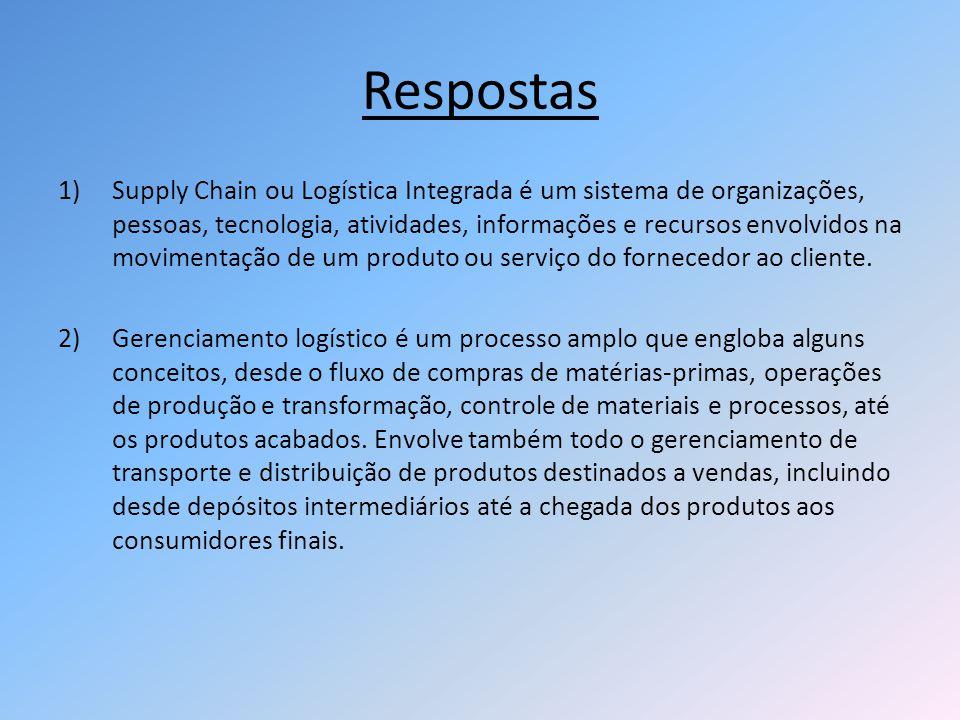 Respostas 1)Supply Chain ou Logística Integrada é um sistema de organizações, pessoas, tecnologia, atividades, informações e recursos envolvidos na mo
