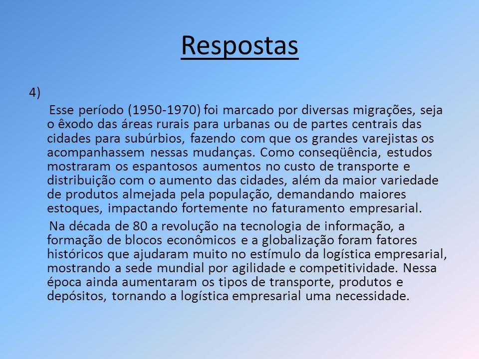 Respostas 4) Esse período (1950-1970) foi marcado por diversas migrações, seja o êxodo das áreas rurais para urbanas ou de partes centrais das cidades