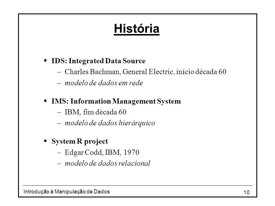 10 Introdução à Manipulação de Dados História  IDS: Integrated Data Source  Charles Bachman, General Electric, início década 60  modelo de dados em