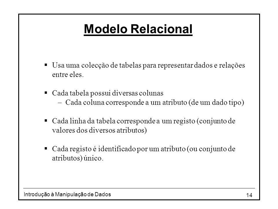 14 Introdução à Manipulação de Dados Modelo Relacional  Usa uma colecção de tabelas para representar dados e relações entre eles.  Cada tabela possu