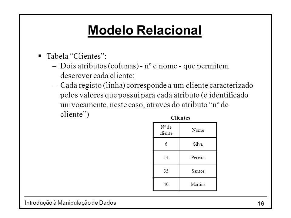 """16 Introdução à Manipulação de Dados Modelo Relacional  Tabela """"Clientes"""":  Dois atributos (colunas) - nº e nome - que permitem descrever cada clien"""