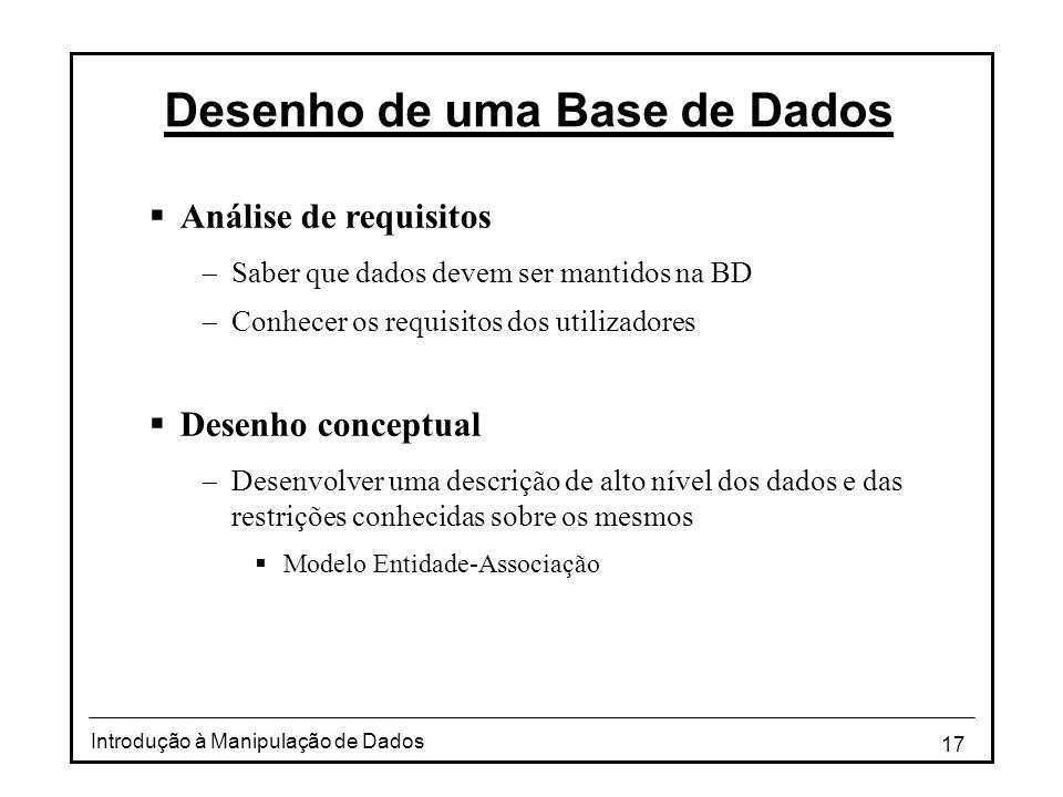 17 Introdução à Manipulação de Dados Desenho de uma Base de Dados  Análise de requisitos  Saber que dados devem ser mantidos na BD  Conhecer os req