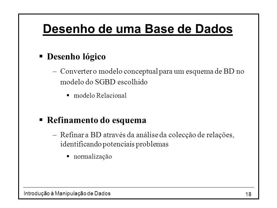 18 Introdução à Manipulação de Dados Desenho de uma Base de Dados  Desenho lógico  Converter o modelo conceptual para um esquema de BD no modelo do