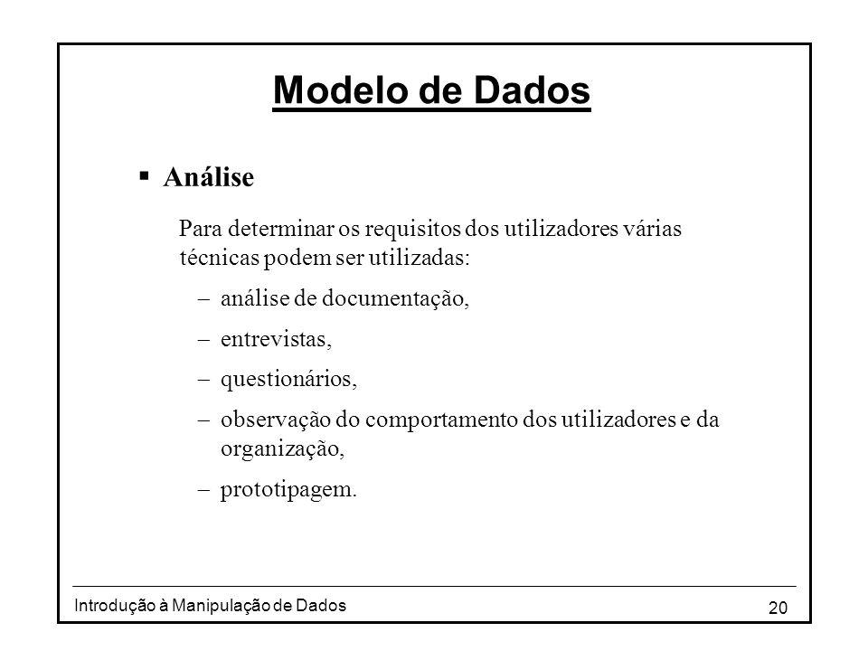 20 Introdução à Manipulação de Dados Modelo de Dados  Análise Para determinar os requisitos dos utilizadores várias técnicas podem ser utilizadas: 