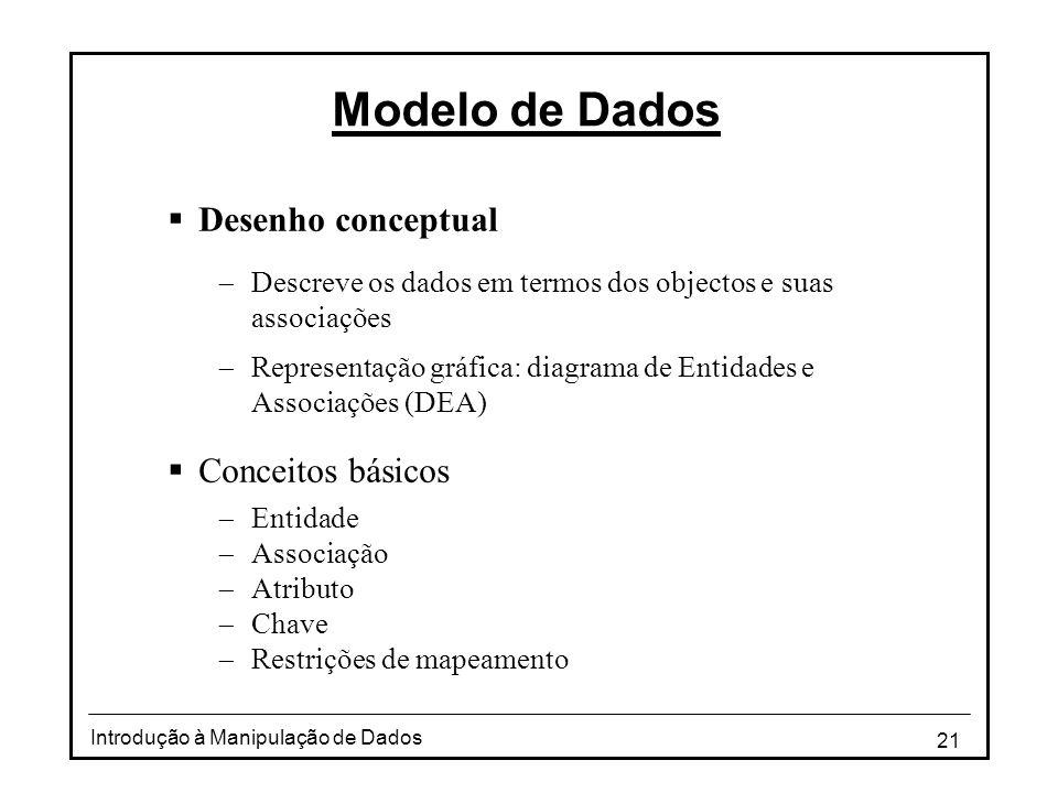 21 Introdução à Manipulação de Dados Modelo de Dados  Desenho conceptual  Descreve os dados em termos dos objectos e suas associações  Representaçã