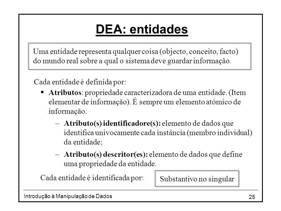 25 Introdução à Manipulação de Dados DEA: entidades Cada entidade é definida por: Uma entidade representa qualquer coisa (objecto, conceito, facto) do