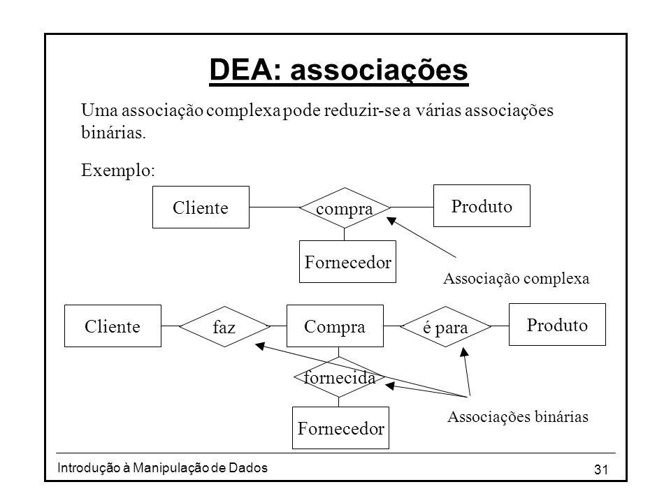 31 Introdução à Manipulação de Dados DEA: associações Uma associação complexa pode reduzir-se a várias associações binárias. Exemplo: Produto compra C