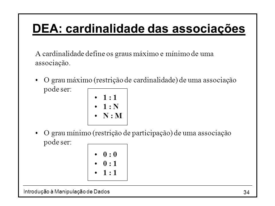 34 Introdução à Manipulação de Dados DEA: cardinalidade das associações •O grau máximo (restrição de cardinalidade) de uma associação pode ser: •O gra