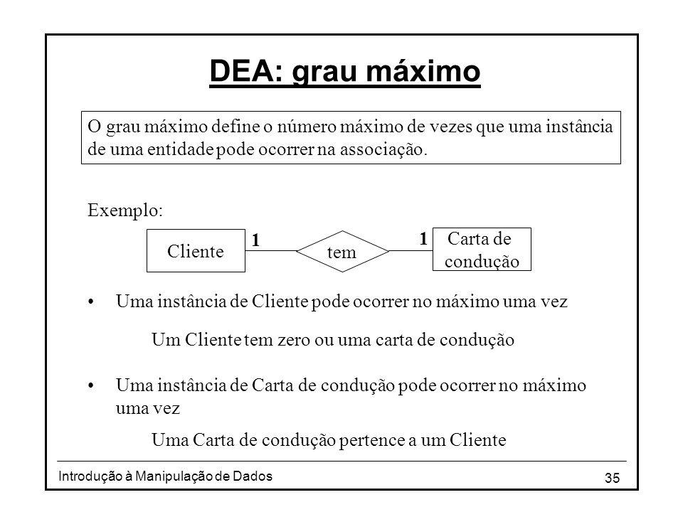 35 Introdução à Manipulação de Dados DEA: grau máximo O grau máximo define o número máximo de vezes que uma instância de uma entidade pode ocorrer na