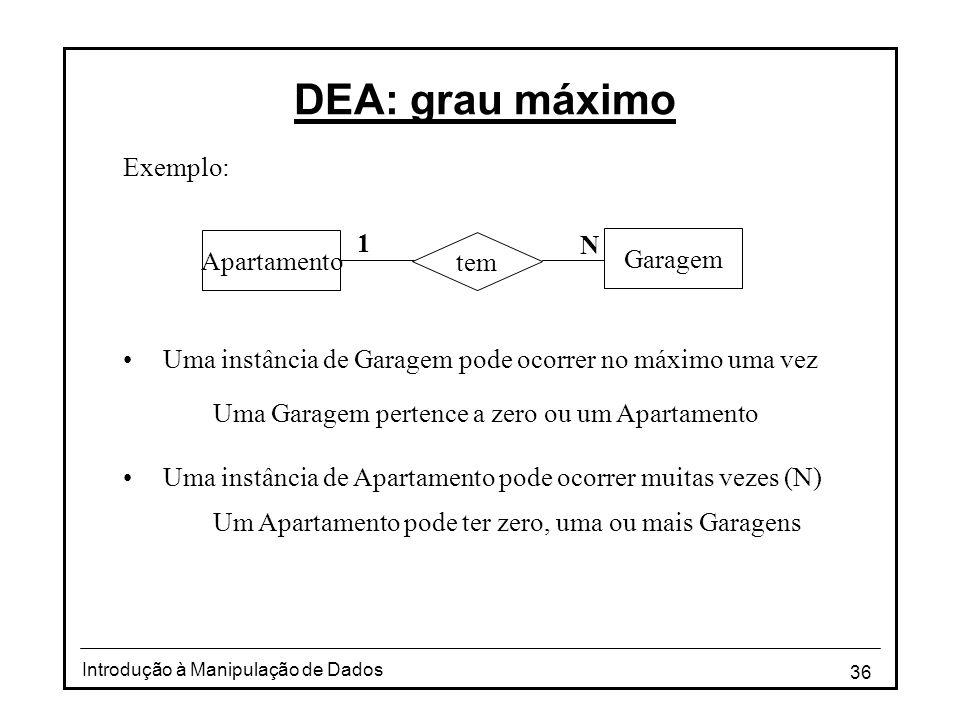 36 Introdução à Manipulação de Dados DEA: grau máximo Exemplo: •Uma instância de Garagem pode ocorrer no máximo uma vez Uma Garagem pertence a zero ou