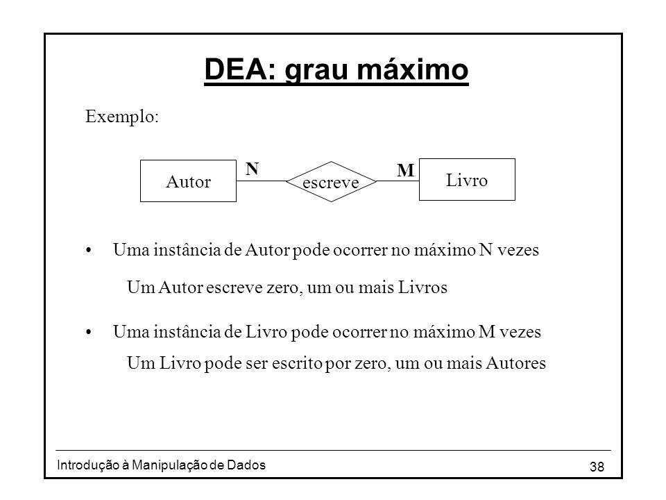 38 Introdução à Manipulação de Dados DEA: grau máximo Exemplo: •Uma instância de Autor pode ocorrer no máximo N vezes Um Autor escreve zero, um ou mai