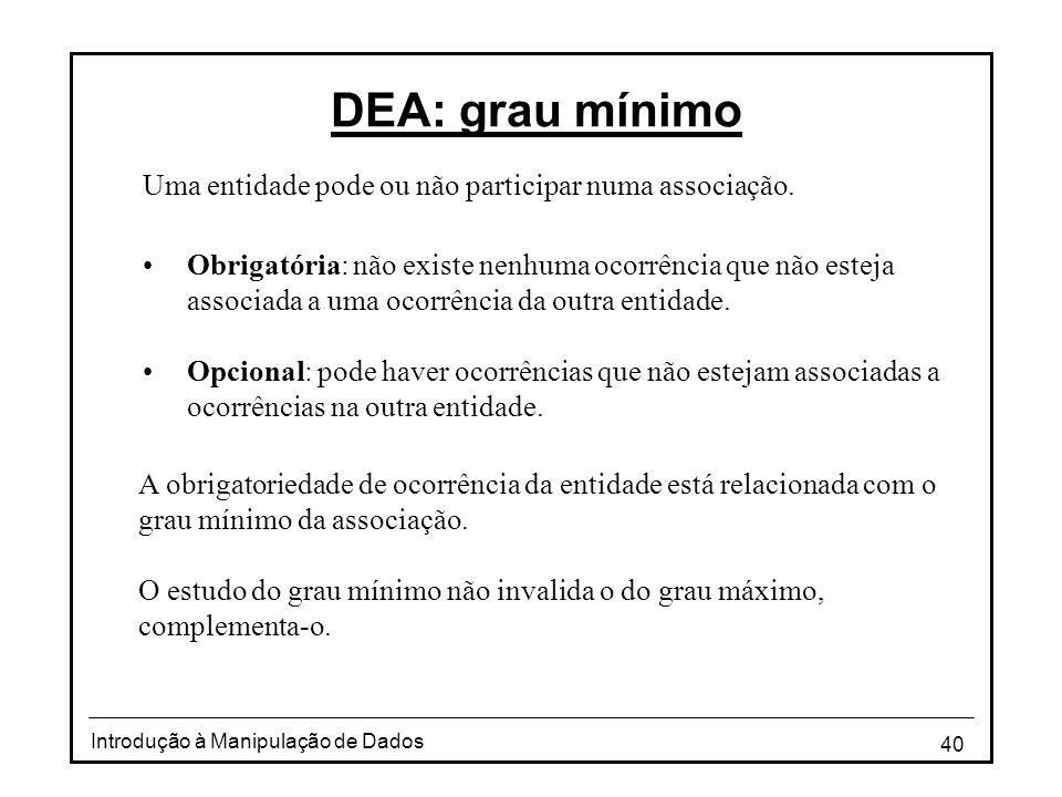 40 Introdução à Manipulação de Dados DEA: grau mínimo Uma entidade pode ou não participar numa associação. •Obrigatória: não existe nenhuma ocorrência