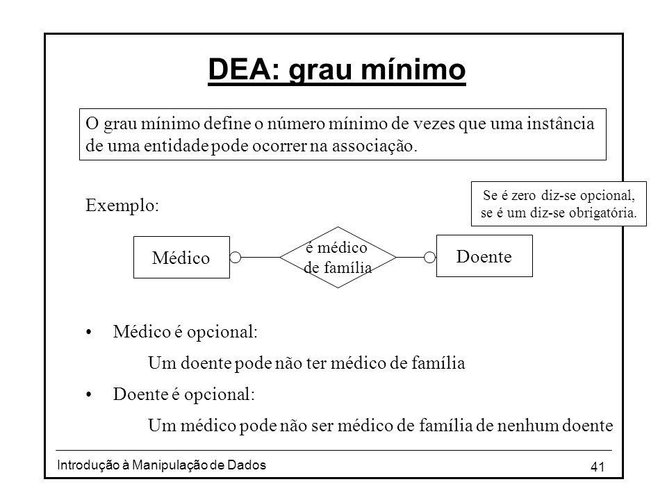 41 Introdução à Manipulação de Dados DEA: grau mínimo O grau mínimo define o número mínimo de vezes que uma instância de uma entidade pode ocorrer na