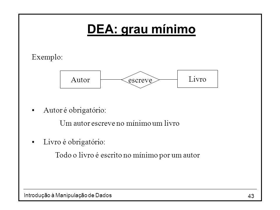 43 Introdução à Manipulação de Dados DEA: grau mínimo Exemplo: •Autor é obrigatório: Um autor escreve no mínimo um livro •Livro é obrigatório: Todo o