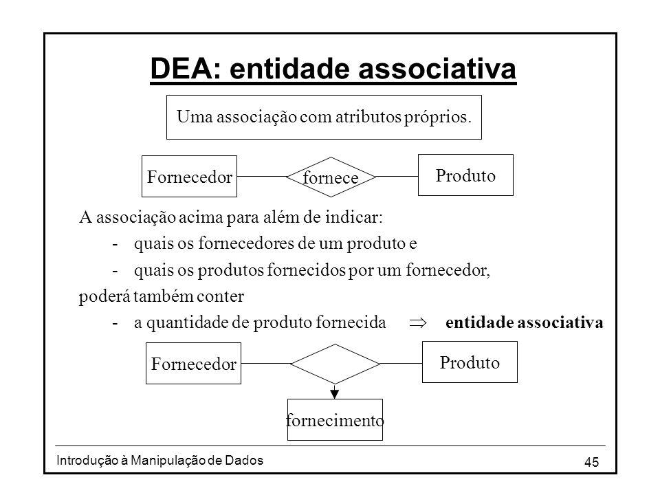 45 Introdução à Manipulação de Dados DEA: entidade associativa Produto fornece Fornecedor Uma associação com atributos próprios. Produto Fornecedor fo