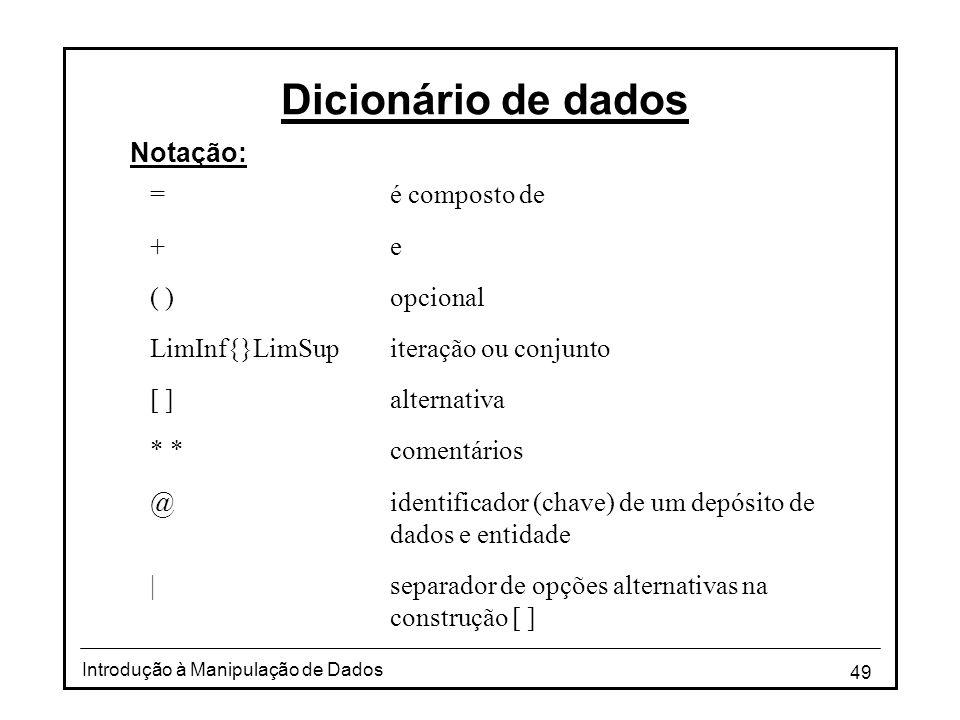 49 Introdução à Manipulação de Dados Dicionário de dados Notação: =é composto de +e ( )opcional LimInf{}LimSupiteração ou conjunto [ ]alternativa * *c