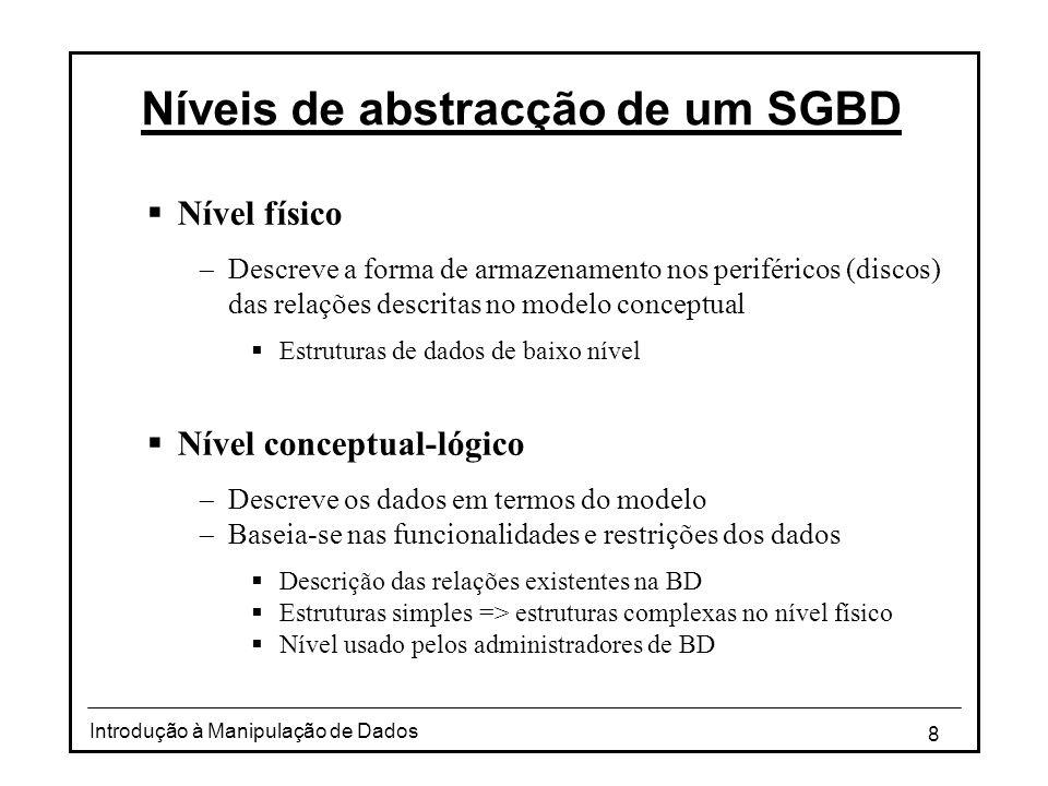 8 Introdução à Manipulação de Dados Níveis de abstracção de um SGBD  Nível físico  Descreve a forma de armazenamento nos periféricos (discos) das re