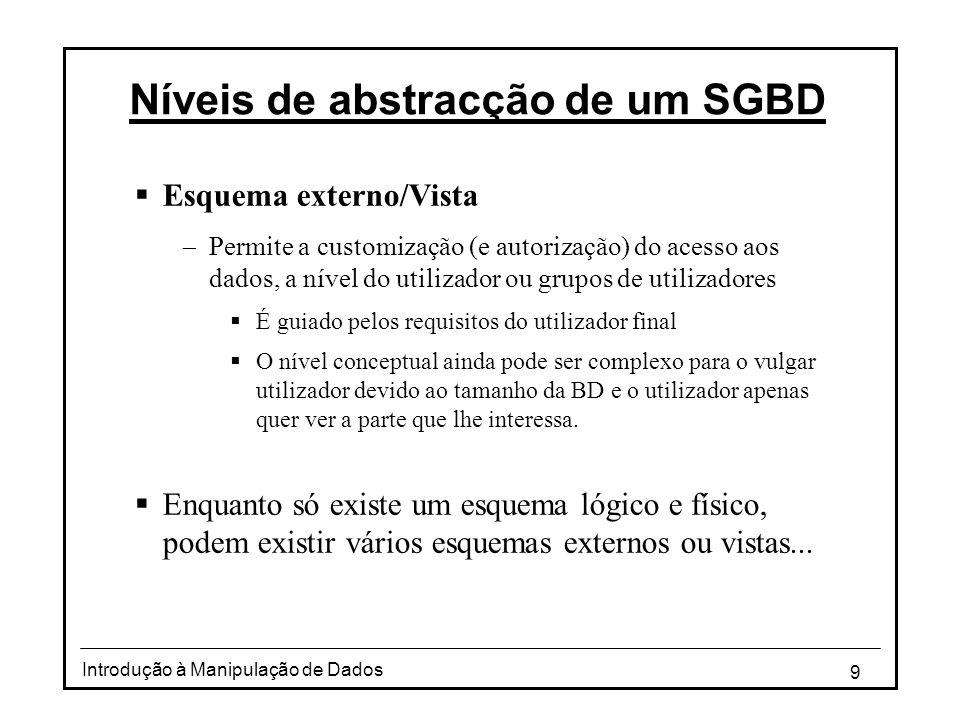 9 Introdução à Manipulação de Dados Níveis de abstracção de um SGBD  Esquema externo/Vista  Permite a customização (e autorização) do acesso aos dad