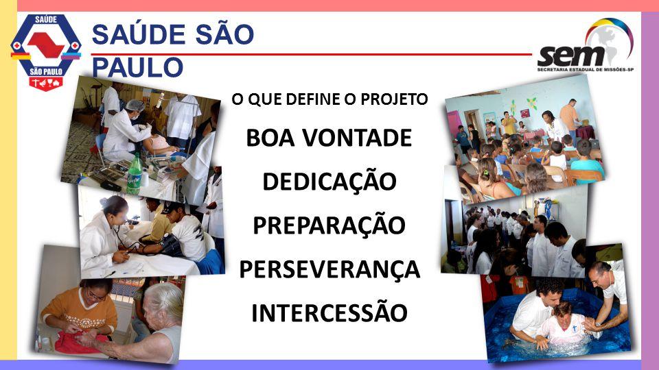SAÚDE SÃO PAULO O QUE DEFINE O PROJETO BOA VONTADE DEDICAÇÃO PREPARAÇÃO PERSEVERANÇA INTERCESSÃO