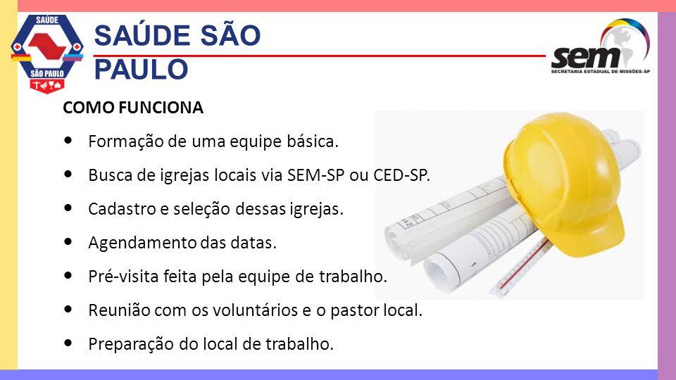 SAÚDE SÃO PAULO COMO FUNCIONA  Formação de uma equipe básica.  Busca de igrejas locais via SEM-SP ou CED-SP.  Cadastro e seleção dessas igrejas. 