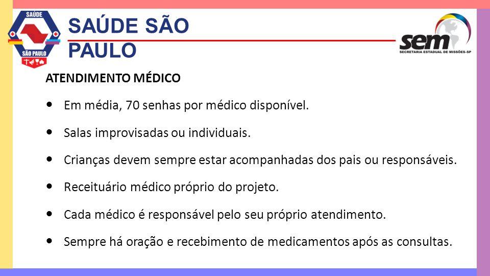 SAÚDE SÃO PAULO ATENDIMENTO MÉDICO  Em média, 70 senhas por médico disponível.  Salas improvisadas ou individuais.  Crianças devem sempre estar aco