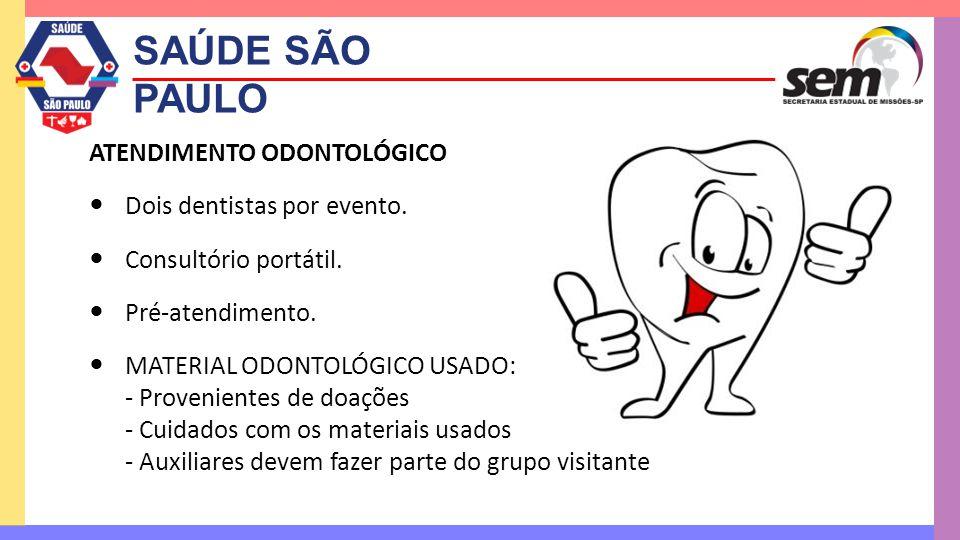 SAÚDE SÃO PAULO ATENDIMENTO ODONTOLÓGICO  Dois dentistas por evento.  Consultório portátil.  Pré-atendimento.  MATERIAL ODONTOLÓGICO USADO: - Prov