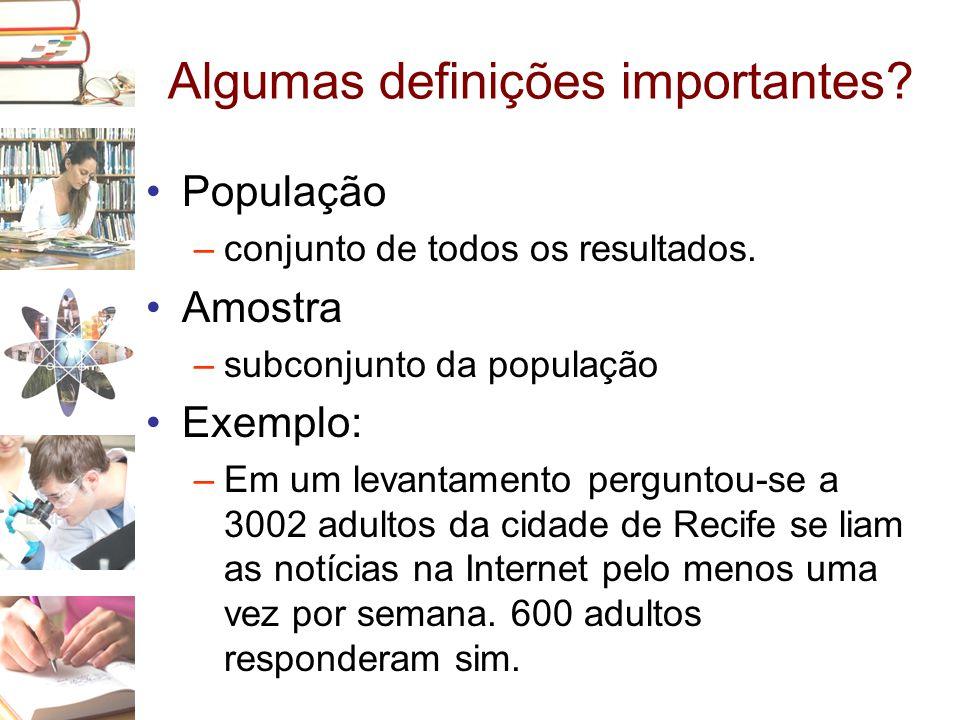 Algumas definições importantes? •População –conjunto de todos os resultados. •Amostra –subconjunto da população •Exemplo: –Em um levantamento pergunto
